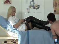 Sadistic Nurse: Handcuffed to the couch, slave gets covered with death damp. He knows something terrible is going to happen. Mistress Sadista is very resourceful in punishing.