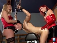 Fuckhole Initiation: Goddess Amadahy mercilessly pounds her slave's ass with her cock, her hips violently shaking his entire body as she thrusts into him again and again.