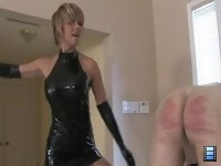 Love the Cane: Brianna grabs the slut by the back of his head and asks if he wants to please her.