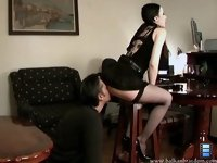 Licking Her Ass: She turned her back on his spineless husband, lifted her skirt up and took her panties off.